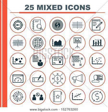 Set Of 25 Universal Editable Icons For Statistics, Marketing And Project Management Topics. Includes