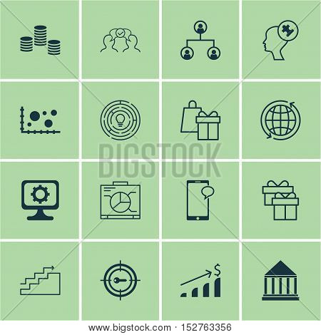 Set Of 16 Universal Editable Icons For Project Management, Statistics And Human Resources Topics. In