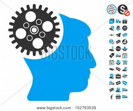Head Gearwheel pictograph with free bonus pictures. Vector illustration style is flat iconic symbols, blue and gray colors, white background.