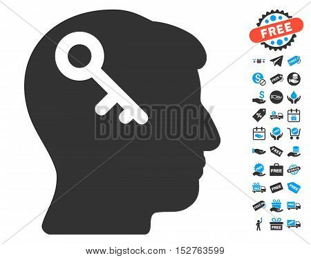 Head Key pictograph with free bonus icon set. Vector illustration style is flat iconic symbols, blue and gray colors, white background.