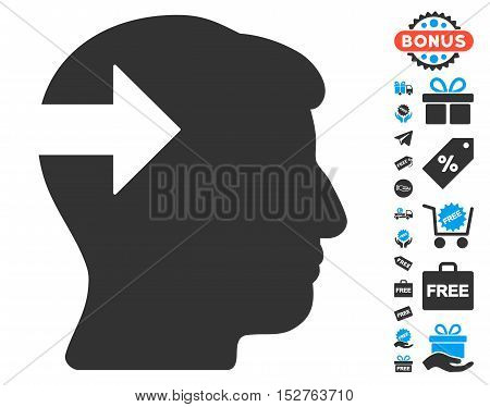 Head Plug-In Arrow pictograph with free bonus clip art. Vector illustration style is flat iconic symbols, blue and gray colors, white background.