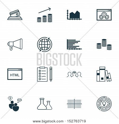 Set Of 16 Universal Editable Icons For Education, Project Management And Statistics Topics. Includes
