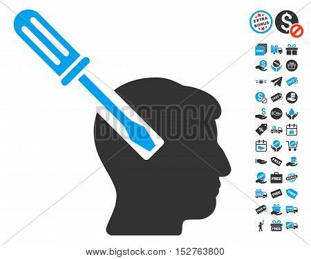 Head Screwdriver Tuning icon with free bonus clip art. Vector illustration style is flat iconic symbols, blue and gray colors, white background.