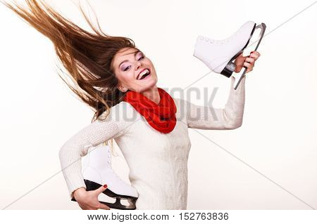 Happy Woman With Ice Skates