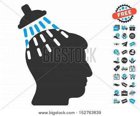 Head Shower icon with free bonus clip art. Vector illustration style is flat iconic symbols, blue and gray colors, white background.