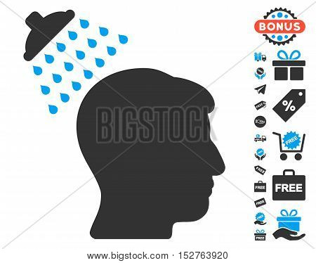 Head Shower icon with free bonus images. Vector illustration style is flat iconic symbols, blue and gray colors, white background.