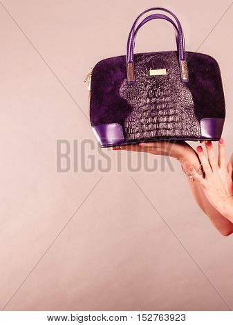 Elegant Woman Buyer With Black Bag.