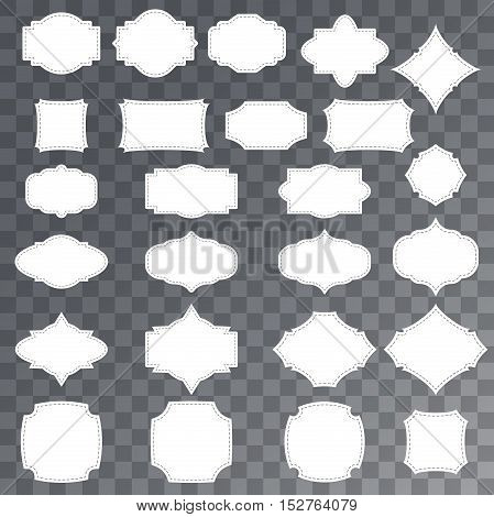 Blank sale or gift tags set. Hang tags on transparent background. Rectangular star and badge shape. Shopping label with place for price and discount captions. Vector illustration.