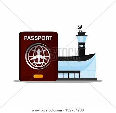 Airport and passport icon. travel trip vacation and tourism theme. Colorful design. Vector illustration