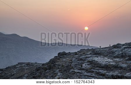 Jebel Shams the highest peak in Middle East at sunset
