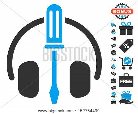 Headphones Tuning Screwdriver pictograph with free bonus graphic icons. Vector illustration style is flat iconic symbols, blue and gray colors, white background.