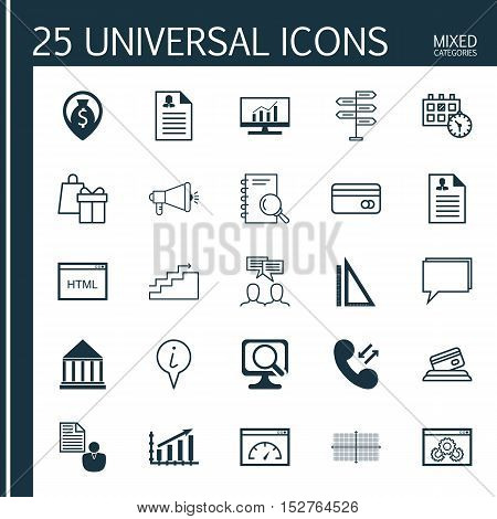 Set Of 25 Universal Editable Icons For Education, Traveling And Hr Topics. Includes Icons Such As Mo