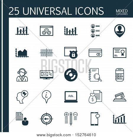 Set Of 25 Universal Editable Icons For Project Management, Statistics And Marketing Topics. Includes