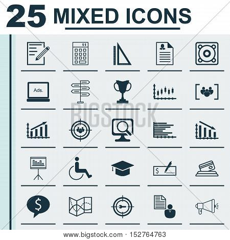 Set Of 25 Universal Editable Icons For Management, Travel And School Topics. Includes Icons Such As