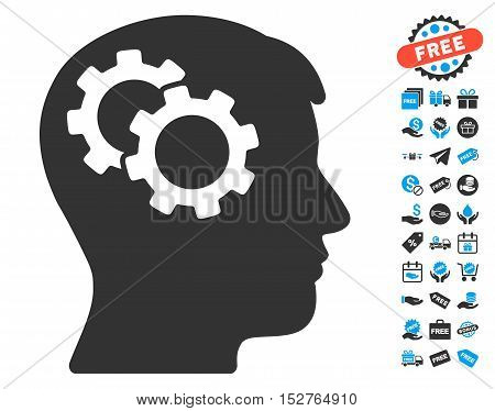 Intellect Gears pictograph with free bonus graphic icons. Vector illustration style is flat iconic symbols, blue and gray colors, white background.