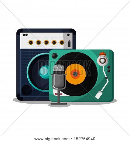 Vinyl instrument speaker and microphone icon. Music sound musical and communication theme. Colorful design. Vector illustration