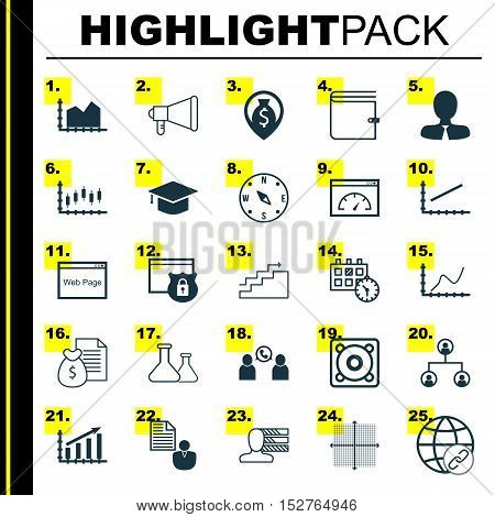 Set Of 25 Universal Editable Icons For Advertising, Hr And Education Topics. Includes Icons Such As