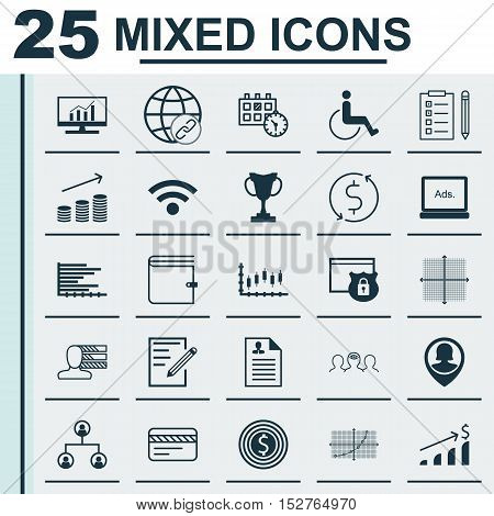 Set Of 25 Universal Editable Icons For Project Management, Transportation And Computer Hardware Topi