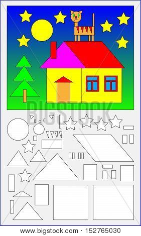 Educational page for young children.  Need to find the geometric figures in the picture and paint them in corresponding colors. Developing skills for counting. Vector cartoon image.