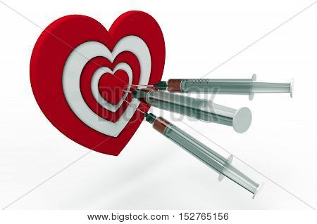 Heart shaped target and syringe 3D rendering on the white background