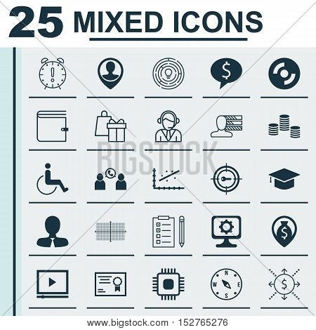 Set Of 25 Universal Editable Icons For Human Resources, Management And Travel Topics. Includes Icons