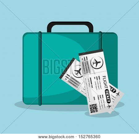 Bag and tickets icon. Airport travel trip vacation and tourism theme. Colorful design. Vector illustration
