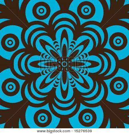 Blue and brown abstract seamless wallpaper design in sixties style