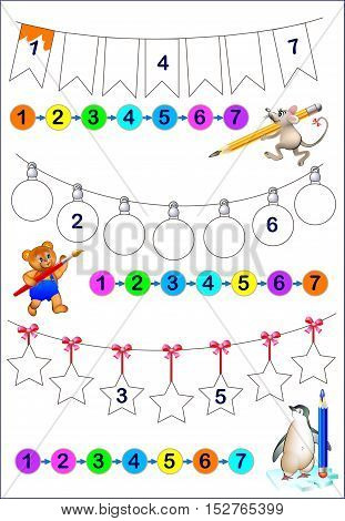 Educational page for young children.  Need to write the numbers in order and paint the objects in corresponding colors. Developing skills for counting. Vector cartoon image.