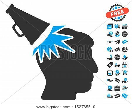 Megaphone Impact Head pictograph with free bonus symbols. Vector illustration style is flat iconic symbols, blue and gray colors, white background.