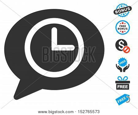 Message Time pictograph with free bonus pictograms. Vector illustration style is flat iconic symbols, blue and gray colors, white background.