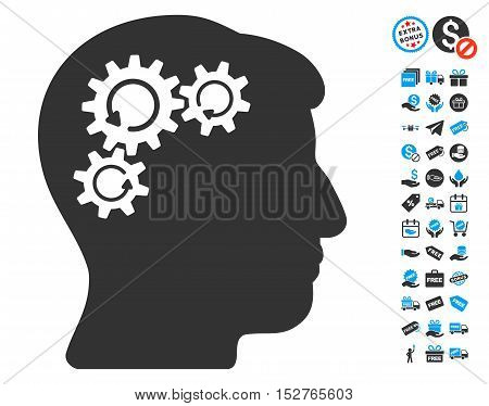 Mind Gear Rotation pictograph with free bonus design elements. Vector illustration style is flat iconic symbols, blue and gray colors, white background.