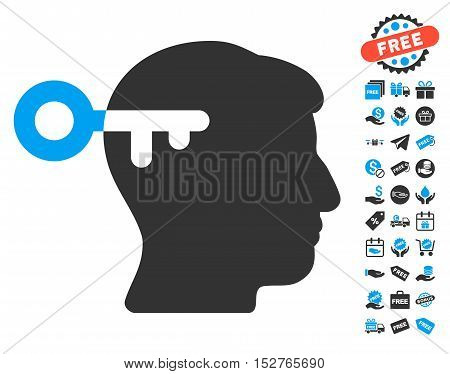 Mind Key icon with free bonus clip art. Vector illustration style is flat iconic symbols, blue and gray colors, white background.