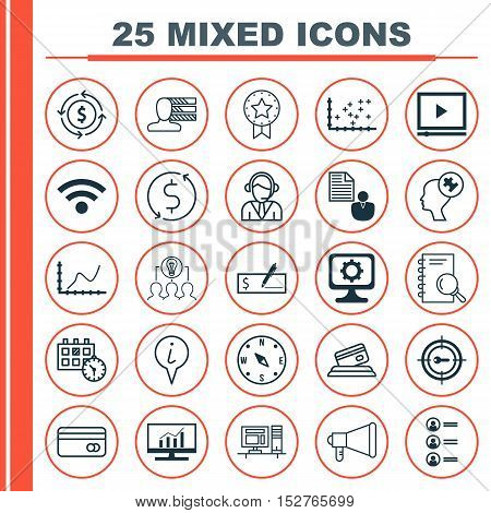 Set Of 25 Universal Editable Icons For Transportation, Advertising And Travel Topics. Includes Icons