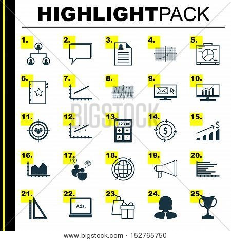 Set Of 25 Universal Editable Icons For Education, Advertising And Airport Topics. Includes Icons Suc