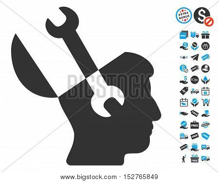 Mind Wrench Tools pictograph with free bonus images. Vector illustration style is flat iconic symbols, blue and gray colors, white background.