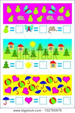 Educational page for young children. Need to count the objects and write corresponding numbers. Developing skills for counting. Vector cartoon image.
