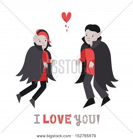 Vampire cute couple in love with heart vector illustration (greeting card)