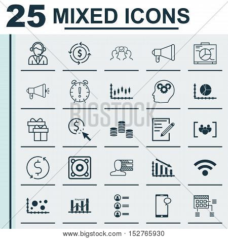 Set Of 25 Universal Editable Icons For Project Management, Travel And Human Resources Topics. Includ