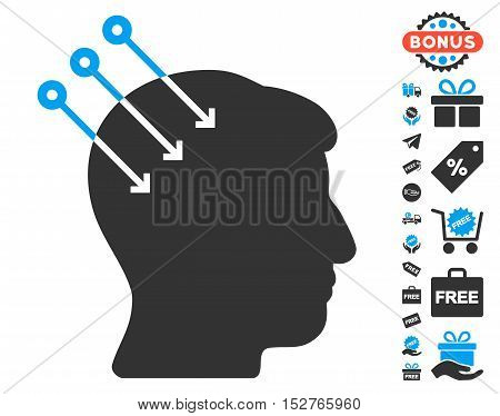 Neural Interface Connectors icon with free bonus pictograms. Vector illustration style is flat iconic symbols, blue and gray colors, white background.