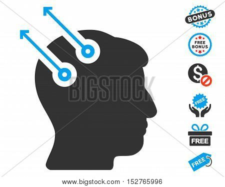 Neural Interface Plugs pictograph with free bonus clip art. Vector illustration style is flat iconic symbols, blue and gray colors, white background.