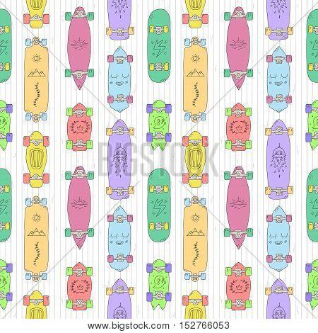 Skateboards and longboards cartoon style vector seamless pattern. Colorful illustration.