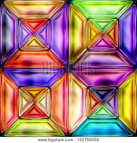 Seamless texture of abstract bright shiny colorful geometric squares