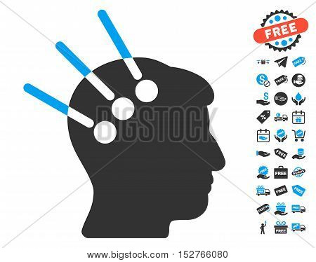Neural Interface icon with free bonus graphic icons. Vector illustration style is flat iconic symbols, blue and gray colors, white background.