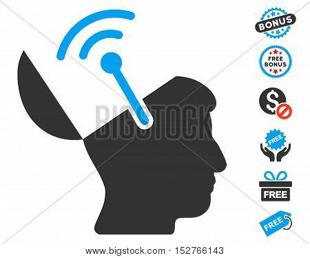 Open Brain Radio Interface icon with free bonus design elements. Vector illustration style is flat iconic symbols, blue and gray colors, white background.