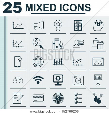 Set Of 25 Universal Editable Icons For Marketing, Tourism And Computer Hardware Topics. Includes Ico