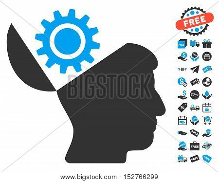 Open Head Gear pictograph with free bonus graphic icons. Vector illustration style is flat iconic symbols, blue and gray colors, white background.