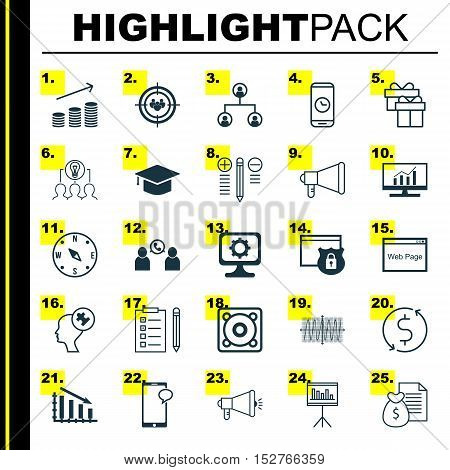 Set Of 25 Universal Editable Icons For Computer Hardware, Project Management And Traveling Topics. I