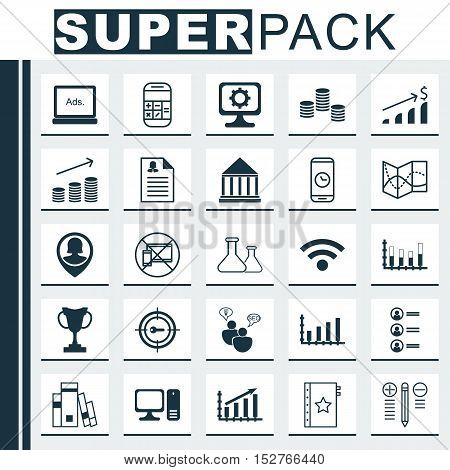 Set Of 25 Universal Editable Icons For Traveling, Transportation And Hr Topics. Includes Icons Such