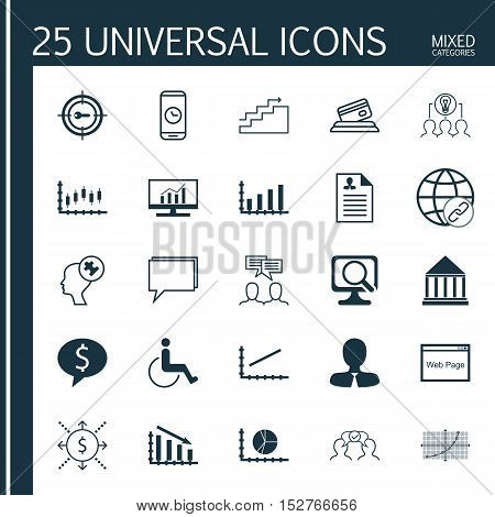 Set Of 25 Universal Editable Icons For Seo, Statistics And Hr Topics. Includes Icons Such As Educati
