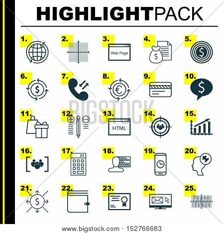 Set Of 25 Universal Editable Icons For Tourism, Travel And Advertising Topics. Includes Icons Such A